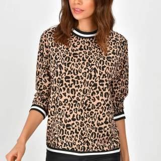 Leopar uzun kol bluz