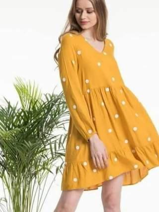 Puantiyeli sarı elbise
