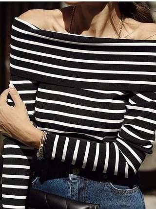 Cizgili madonna bluz