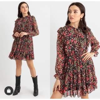 Fırfırlı Sifon Elbise