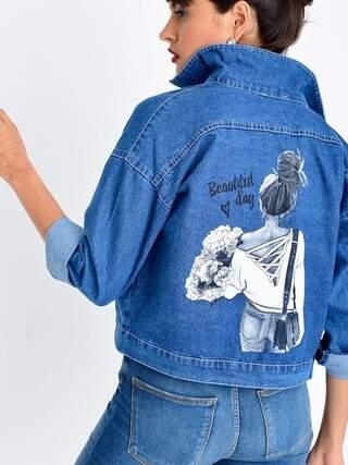 Sırtı baskılı kot ceket